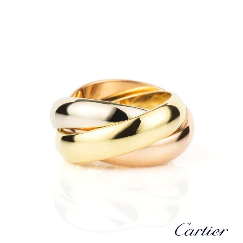 Cartier 18k Three Colour Gold Trinity Ring Size 42 B&P